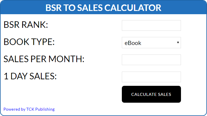 BSR Calculator   From the blog of Nicholas C. Rossis, author of science fiction, the Pearseus epic fantasy series and children's books