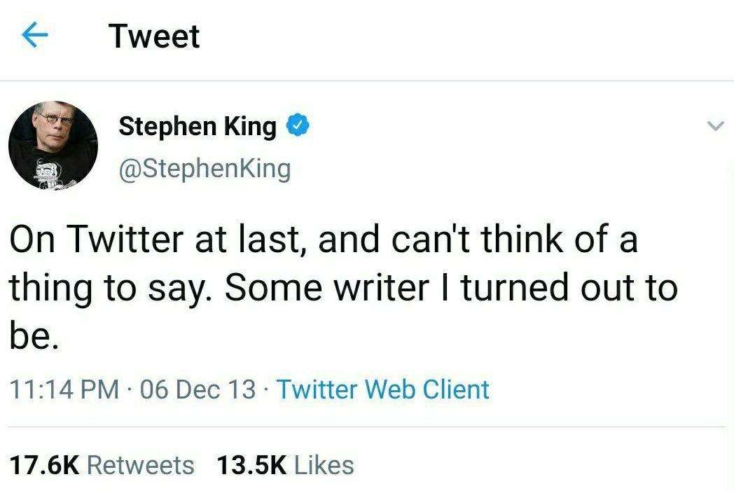 Stephen King on Twitter | From the blog of Nicholas C. Rossis, author of science fiction, the Pearseus epic fantasy series and children's book