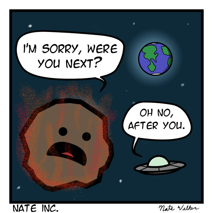 UFO, asteroid - funny 2020 meme | From the blog of Nicholas C. Rossis, author of science fiction, the Pearseus epic fantasy series and children's book