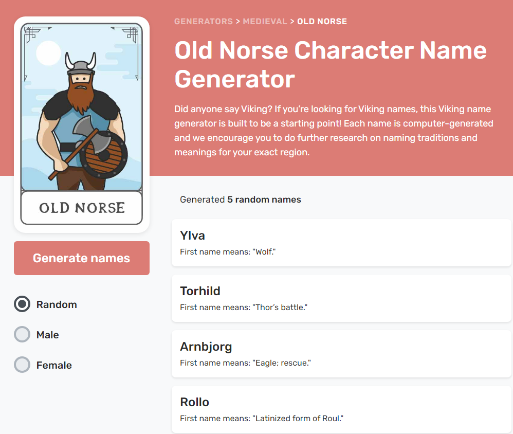 Reedsy's Medieval name generator | From the blog of Nicholas C. Rossis, author of science fiction, the Pearseus epic fantasy series and children's books