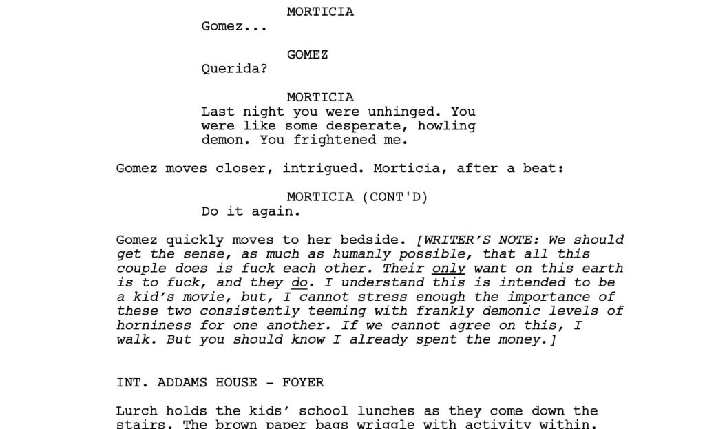Addams family script | From the blog of Nicholas C. Rossis, author of science fiction, the Pearseus epic fantasy series and children's books